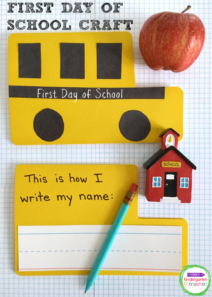 With just a few supplies you can create this school bus keepsake activity. It's a fun First Day of School craft for Kindergarten!