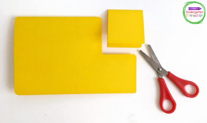 Follow the directions to carefully cut out the different shapes to create a school bus.