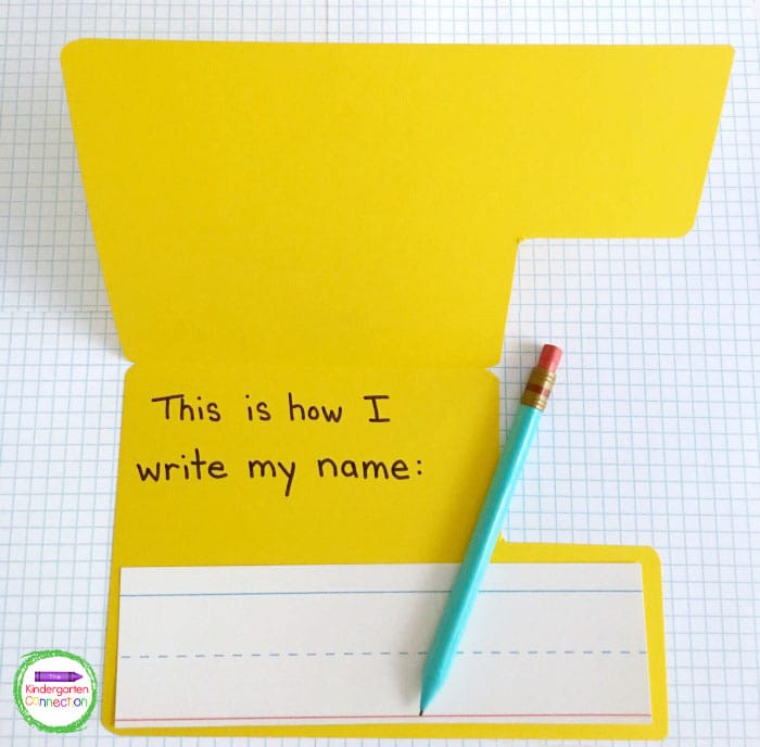 Attach a sentence strip for the students to write their names on the inside of the school bus.
