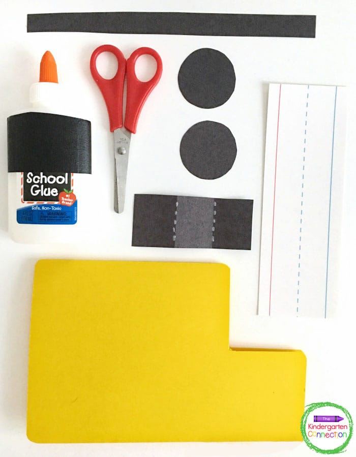 Grab some yellow and black construction paper, scissors, sentence strips, and glue.