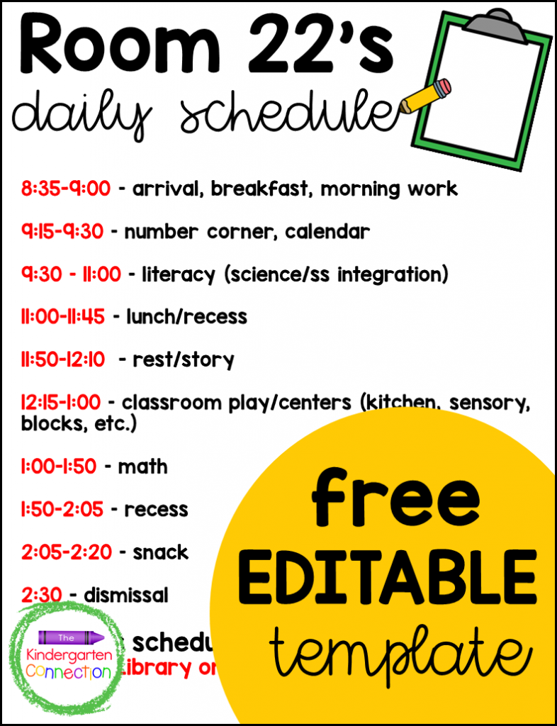Plan and post your Kindergarten schedule (or Pre-K too!) with this free teacher schedule template!