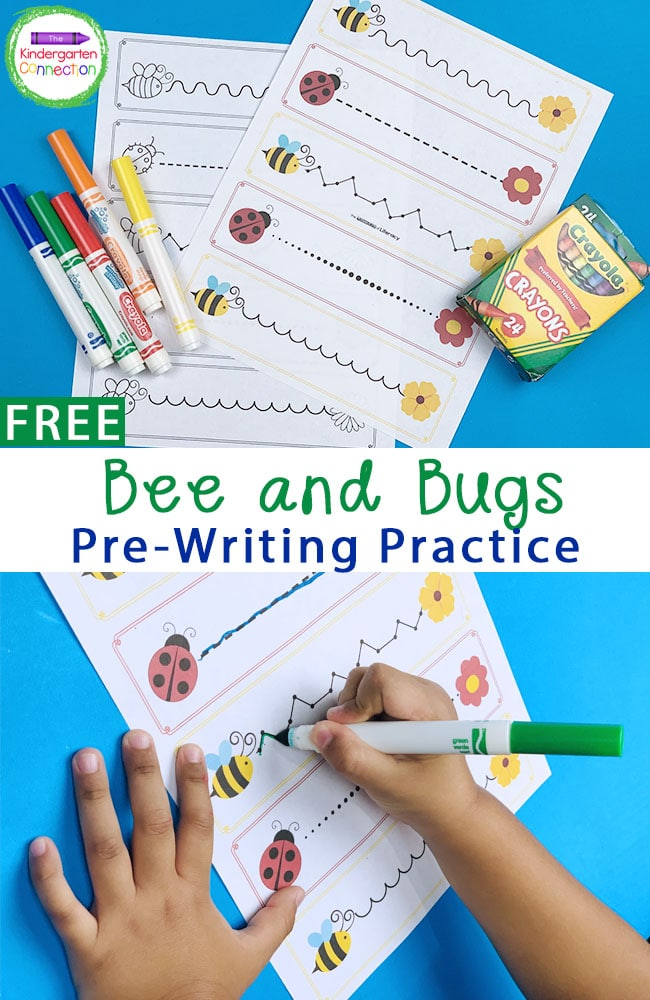 These free Bees and Bugs Pre-Writing Practice printables are a fun way to bring Spring into your Pre-K or Kindergarten centers!