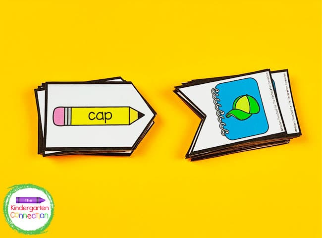 Just print the CVC word match puzzles, laminate, and cut for a quick literacy center!