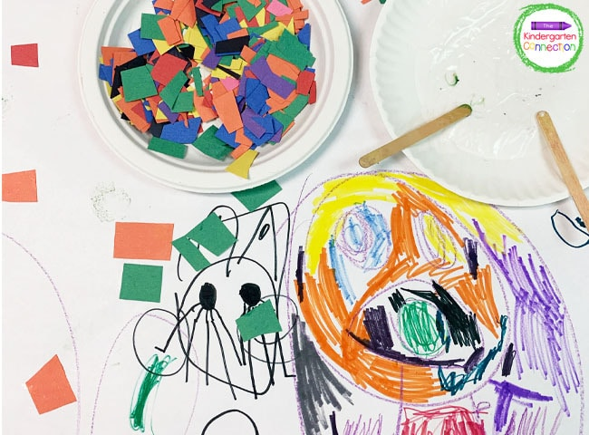Provide supplies like torn paper, glue, and crayons for students to explore freely with on paper.