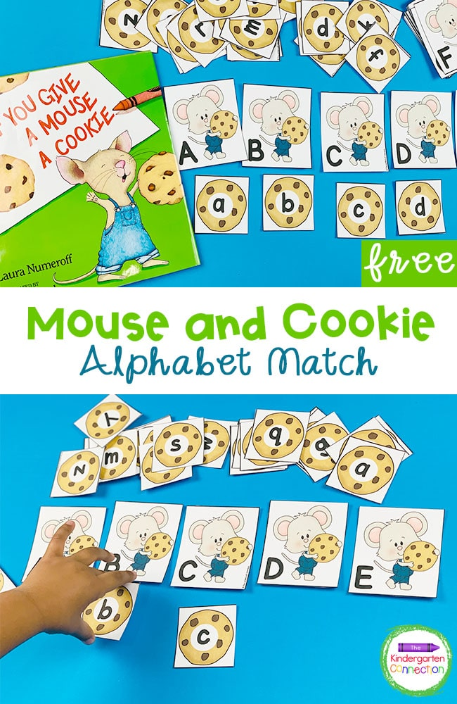 Grab our free Mouse and Cookie Alphabet Matching Game and practice matching upper and lowercase letters in a super fun way!