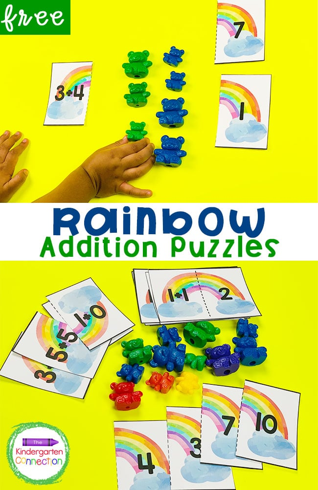 Grab these free Rainbow Addition Puzzles for Kindergarten! They are hands-on and make a fun, easy-prep math center!