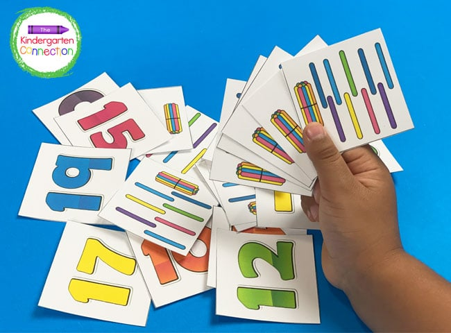 This number matching game helps strengthen counting skills through the teens!