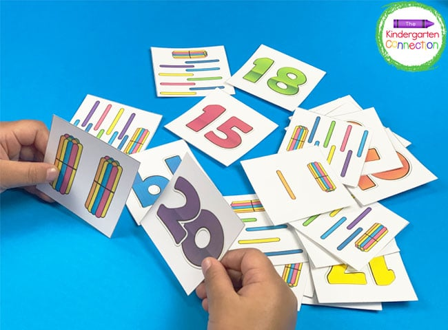 As a traditional matching game, students will scatter the number cards and tens bundle picture cards around the table.