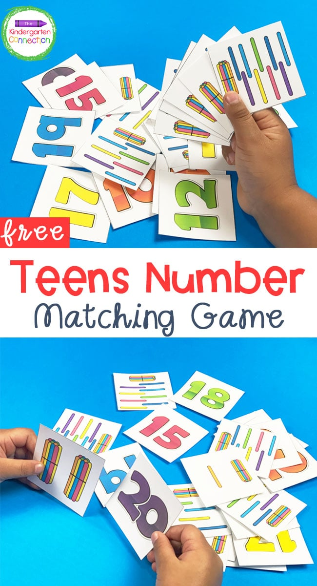 This free Teens Number Matching Game is great for a Kindergarten classroom, homeschool, or even homework!