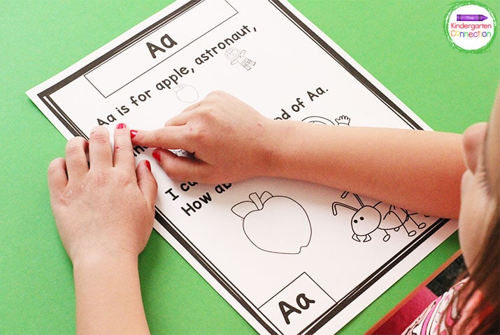 The kids can identify all of the words in the poem that start with the letter of focus.