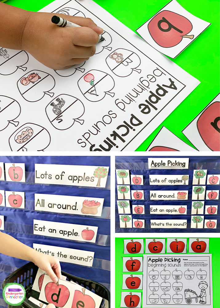 This set includes our Apple Picking Chant, apple alphabet cards, beginning sound tree picture cards, and recording sheets.