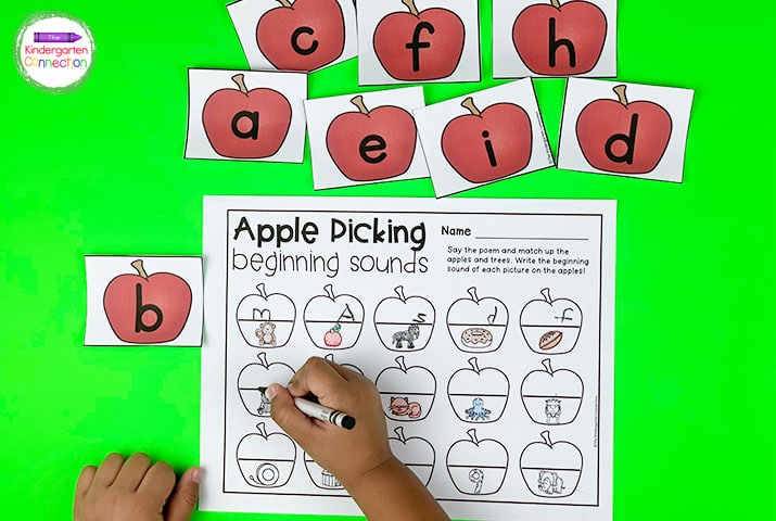 Identify letter sounds using the Apple Picking beginning sound recording sheet.