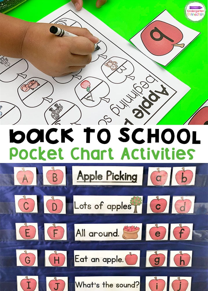 Grab these easy-prep Back to School Pocket Chart Activities that are perfect for Pre-K and Kindergarten classrooms!