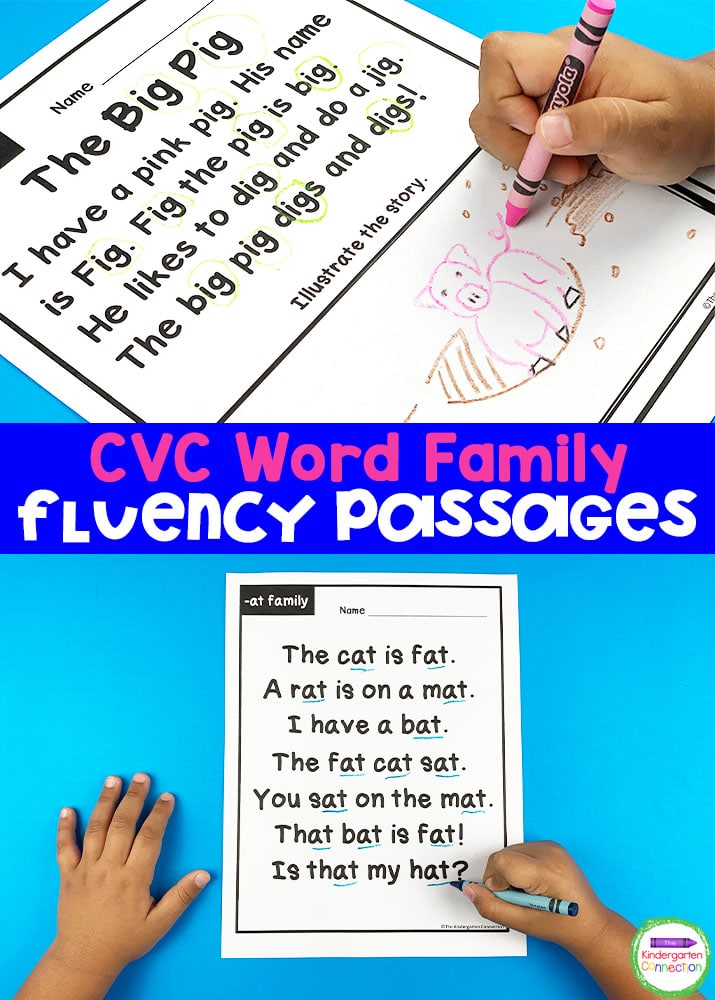 These CVC Word Family Fluency Passages are a fun and engaging way to help your early readers become successful with word families!