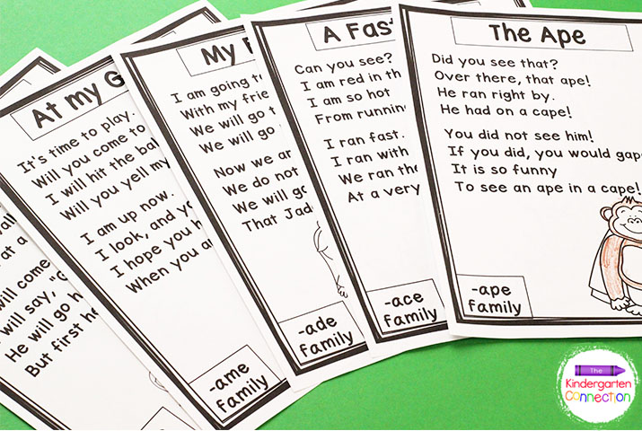 Each poem focuses on a specific word family indicated in the bottom corner.