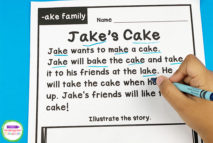 Have the students highlight each of the words in the word family and draw a picture of what they read.