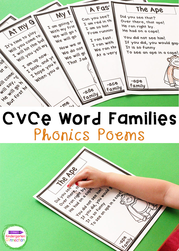 These CVCe Word Family Phonics Poems are the perfect way for your Kindergarten and 1st Grade students to work on fluency!