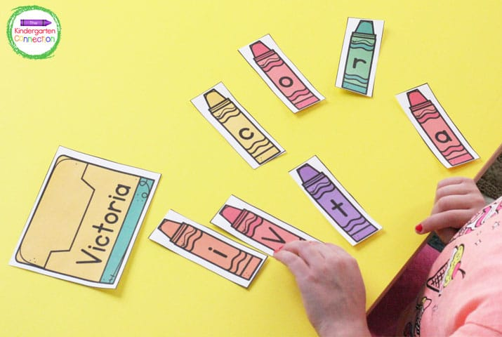 Students can use the personalized crayon boxes to build their names with the letter crayon pieces.