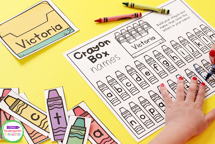 Students can color the letters in their name on the back to school name game recording sheet.