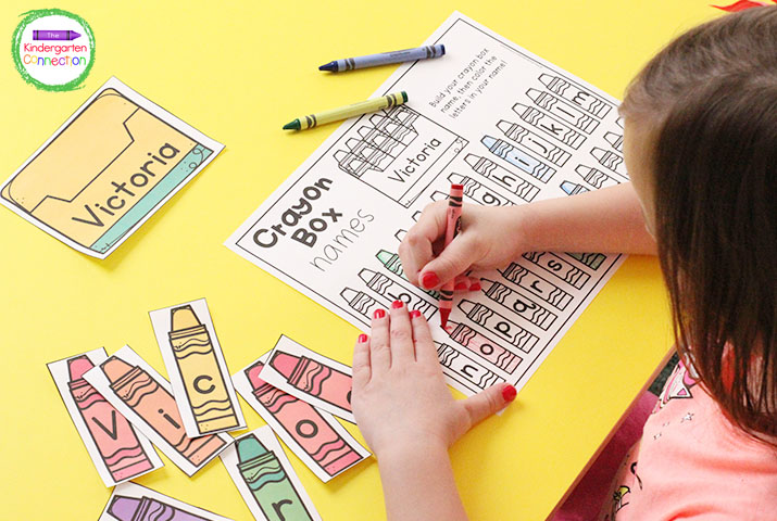 This Back to School Name Game includes editable crayon boxes, letter cards, and recording sheets!