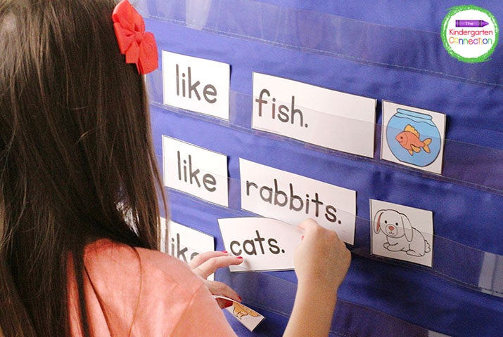 """Use the """"I Like"""" sentence frames included in this activity in a pocket chart to build opinion sentences with different pets."""