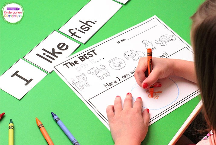 Use the differentiated response sheets to have students write about or draw their favorite pet in this sentence building activity.
