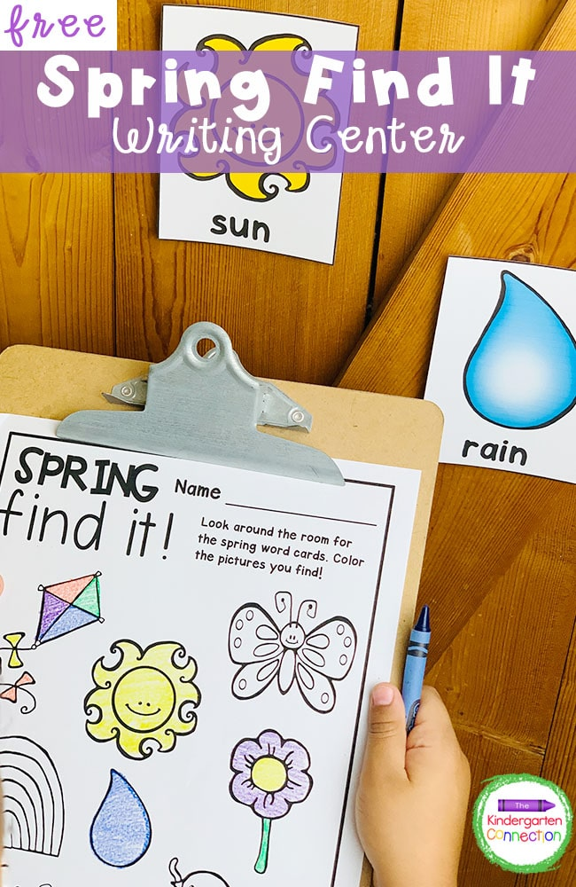 This free Spring Writing Center Activity for Kindergarten is hands-on, easy to prep, and it'll get your students up and moving around the classroom!