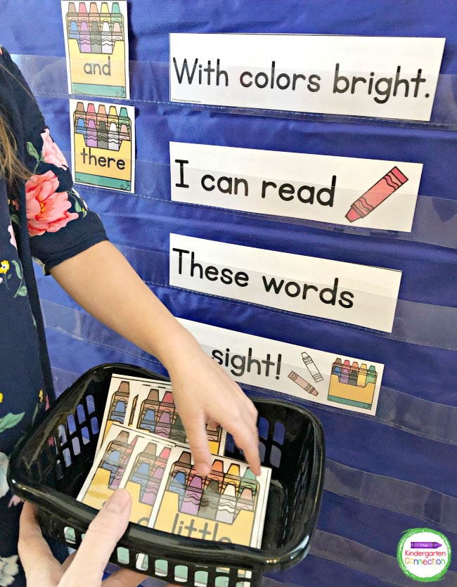 Customize the editable crayon box cards for your pocket chart with sight words or high frequency words.
