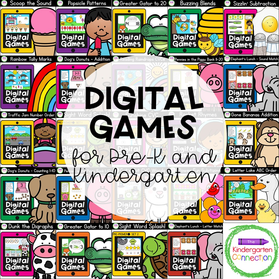 Our Digital Games Bundle covers key math and literacy skills for Pre-K and Kindergarten!