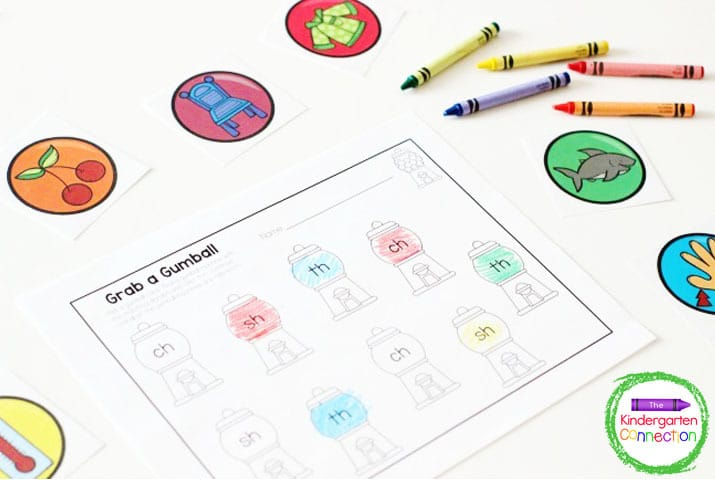 In our free Gumball Matching Digraph Activity students choose a picture card and find the matching digraph on the recording sheet.