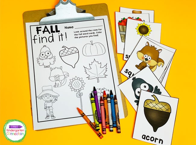 For this fall writing center all you need are the free printables, a clipboard, and some crayons!