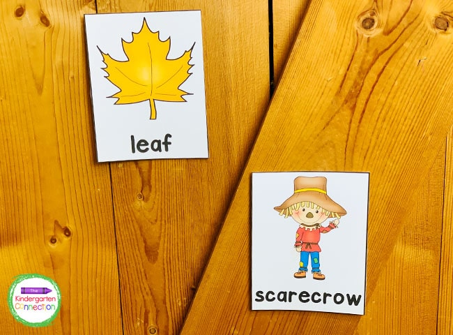 Laminate the fall vocabulary cards before posting to make them reusable for the future!