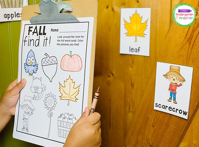 Attach the recording sheet to a clipboard and find all of the fall vocabulary cards around the classroom.