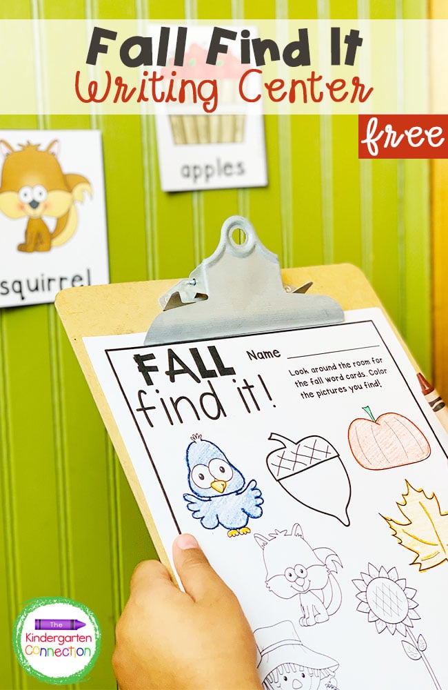 This free Fall Find It Writing Center for Kindergarten is a fun activity to get children up and moving while they read!