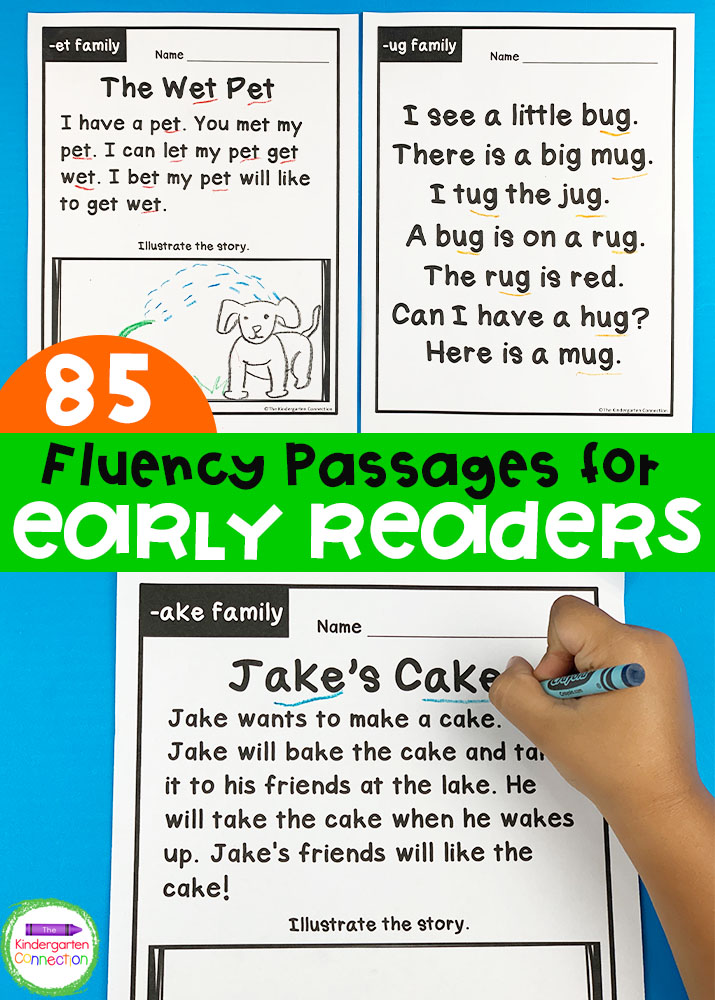 Build word family and sight word fluency with these 85 fluency passages for early readers. They're perfect for Kindergarten!