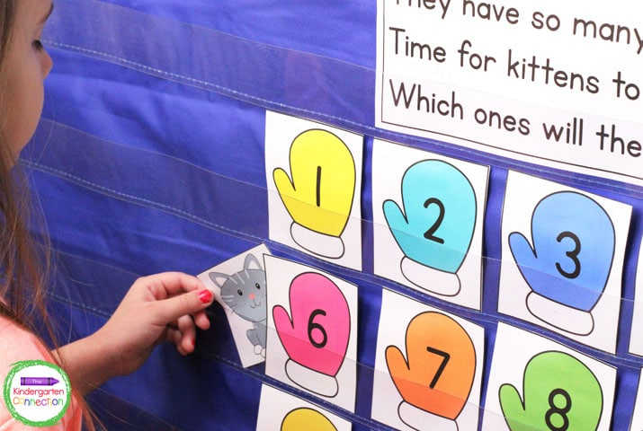 "Arrange all of the mittens in a ""hundreds chart format,"" and the colors will match when counting by tens."