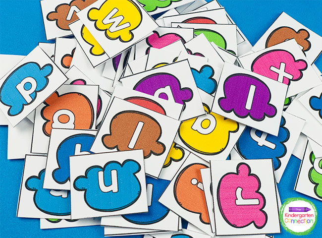 Place the ice cream letter cards face up on the table so the students can see all of the letters clearly.