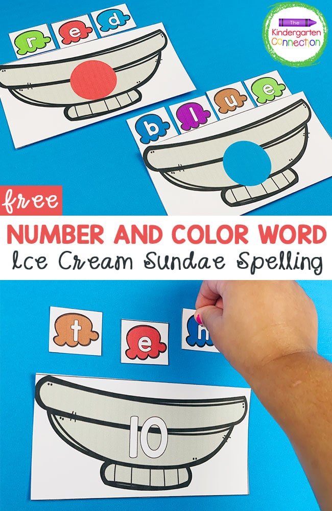 This FREE Number Word and Color Word Ice Cream Spelling Activity makes a fun, hands-on literacy center for Kindergarten!