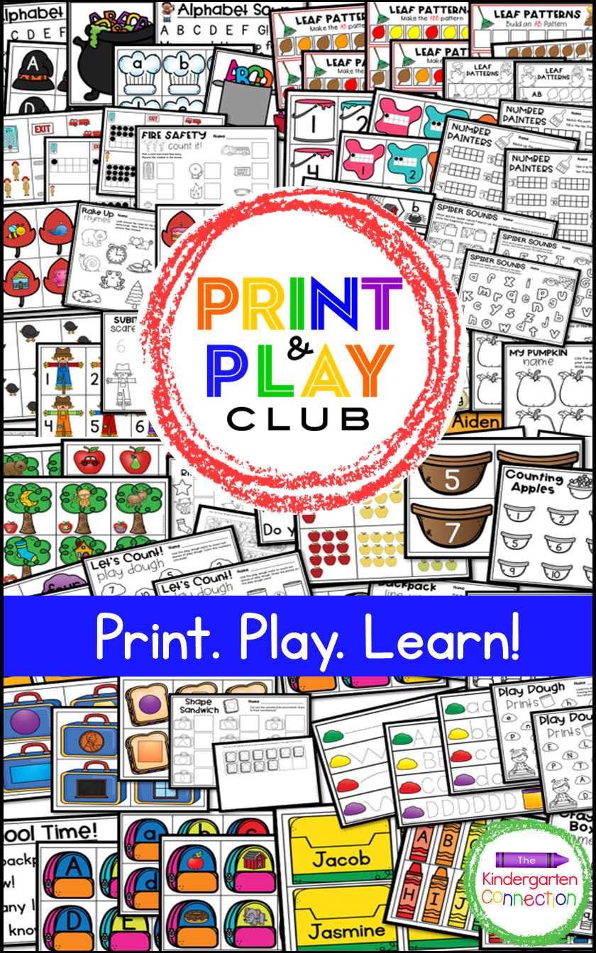 The Print and Play Club for Pre-K and Kindergarten teachers is an exclusive, members only group within The Kindergarten Connection.