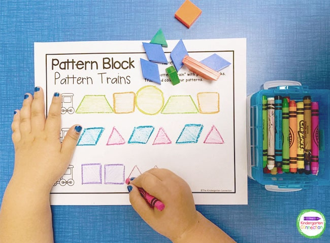 Make a resource request for the perfect activity for your students like our Pattern Block Trains!
