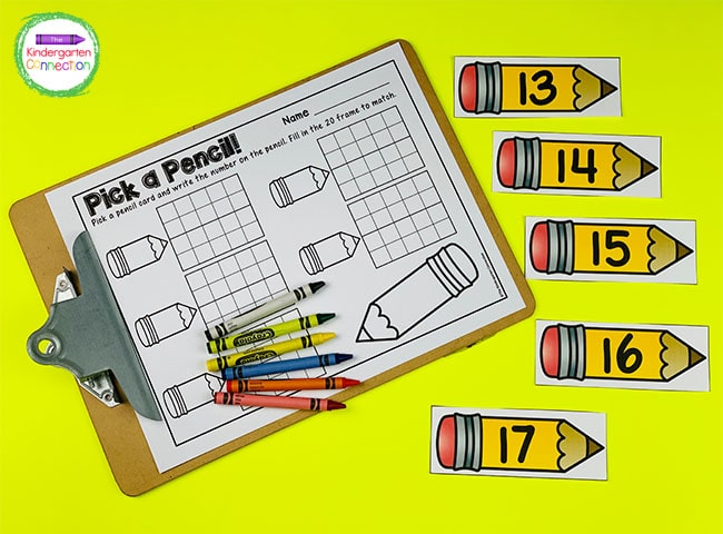 Print the number pencil cards, 20 frame recording sheet, and grab some crayons for an easy-prep math center!