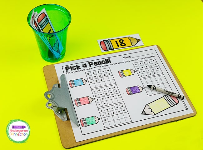 Keep pulling pencil cards and filling 20 frames until all of the cards have been picked.