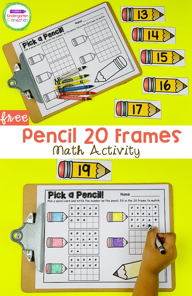 This free pencil 20 frame math activity makes a great math center for Kindergarteners to practice teen number recognition and counting!