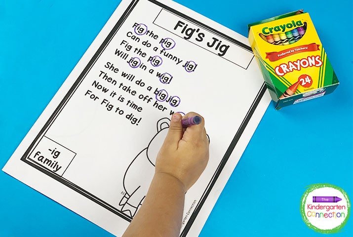 Students can use a crayon or marker to identify word families by circling the chunks or repeating patterns in the words.