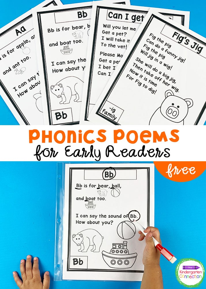 Grab our FREE Phonics Poems for Early Readers Sampler to encourage extended practice of important phonic skills!