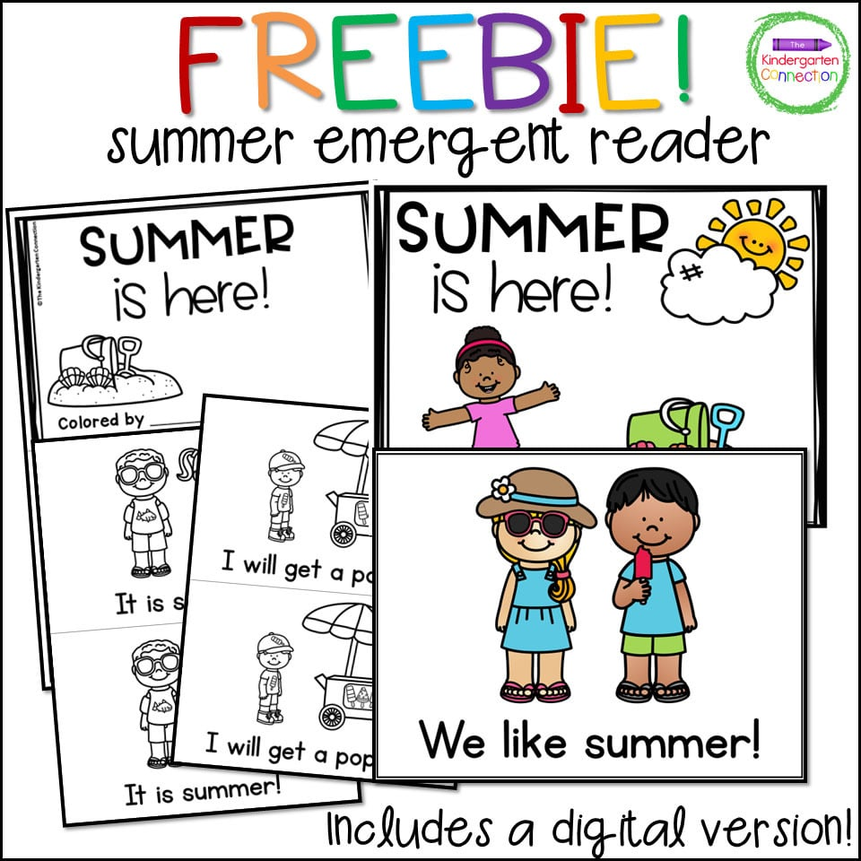 This free download includes a black and white printable version of the Summer Emergent Reader.