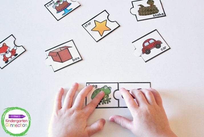 Grab our free Rhyming Puzzles and you have a hands-on literacy center in no time!