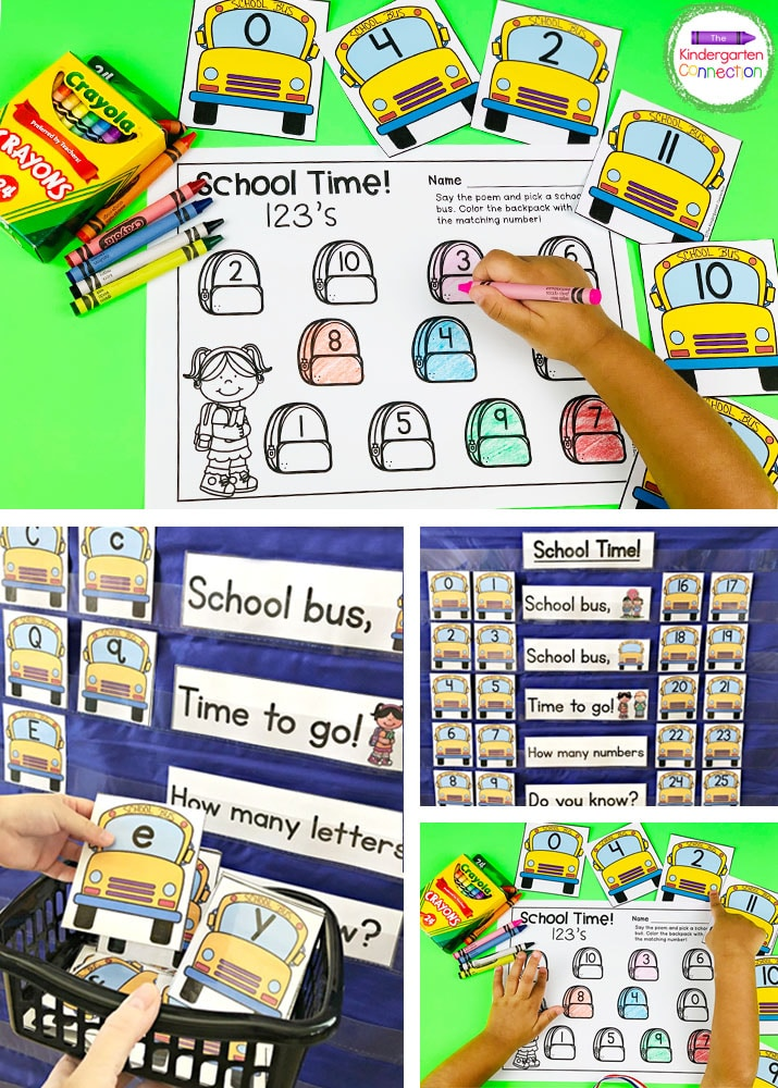 This set includes our School Time Chant, upper and lowercase school bus alphabet cards, number cards, and recording sheets!