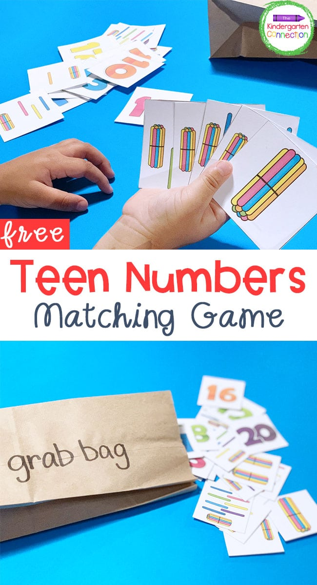 This free Teen Numbers Matching Game is great for a Kindergarten classroom, homeschool, or even homework!