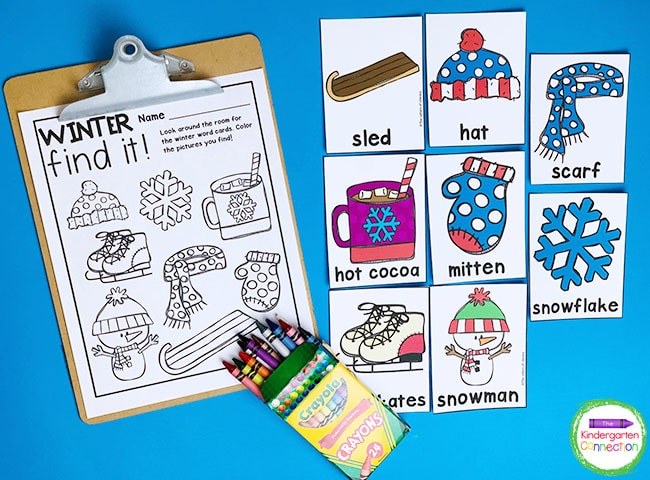 Just print the Winter Writing Center Activity vocab cards, recording sheet, and grab some crayons to get started!